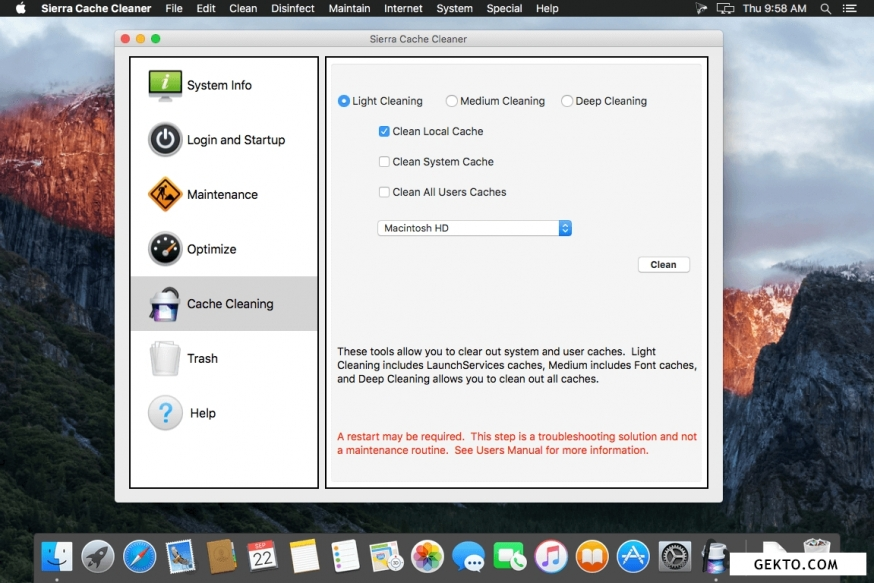Sierra cache cleaner 11.1.6. Screenshot №3